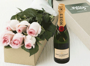 6 Pastel Pink Roses Gift Box & Champagne