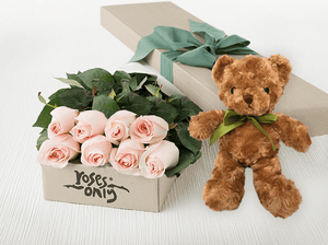 8 Pastel Pink Roses Gift Box & Teddy Bear