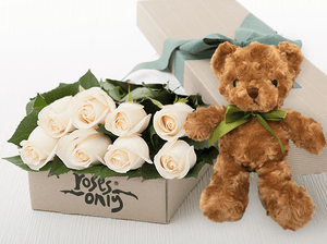 8 White Cream Roses Gift Box & Teddy Bear