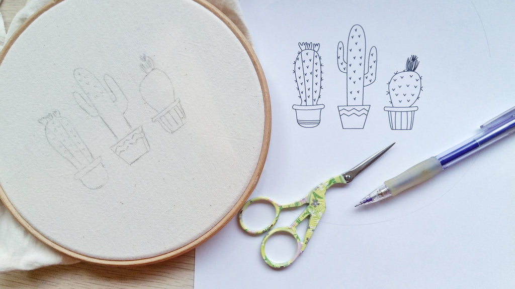 drawing a hand embroidery design on hoop