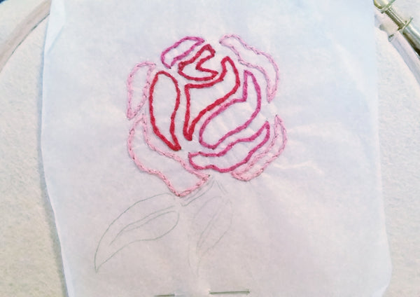 how to transfer embroidery designs on felt, step three finish all outlines with chain stitch