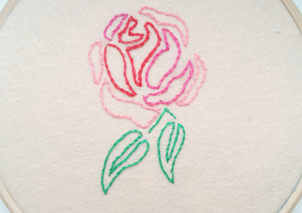 embroidered rose outline stitch