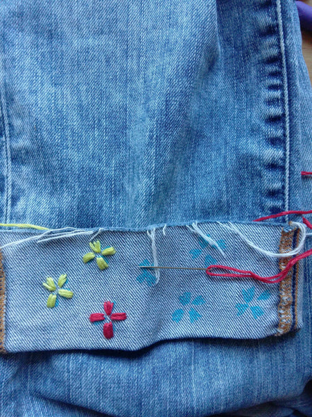How to embroider on denim - two colour flowers