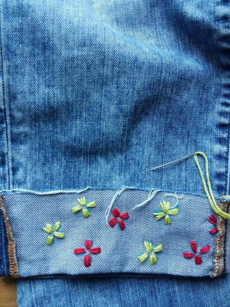 How to embroider on Denim with a flower design