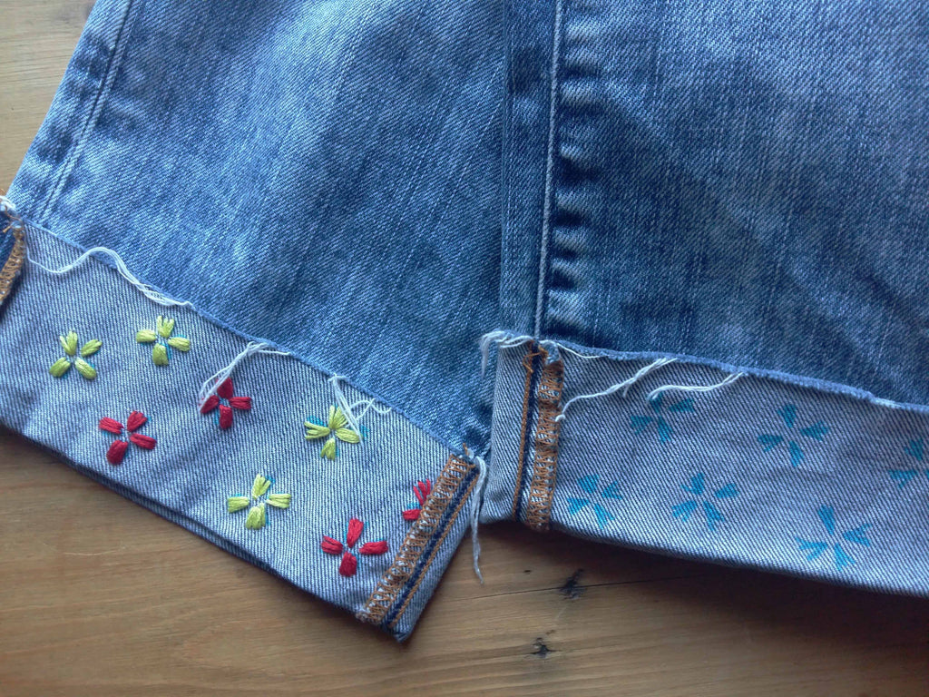 How to embroider on denim with a simple flower design