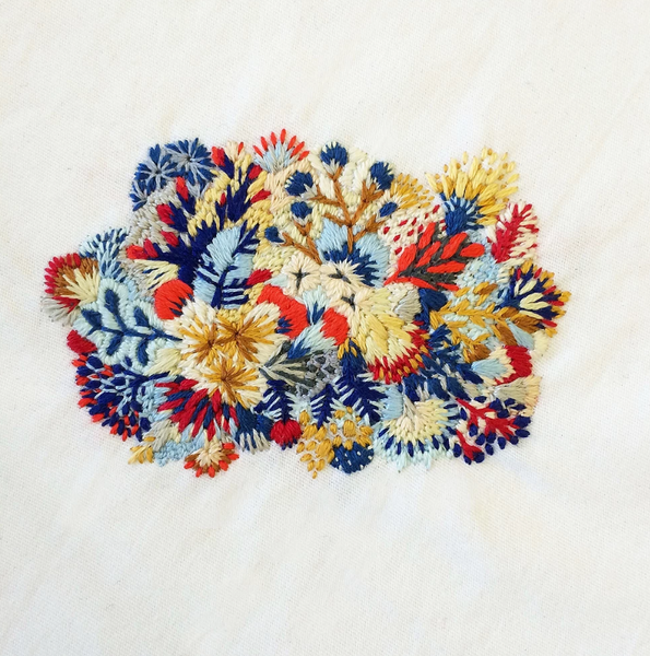 slow stitch sophie colourful embroidered flowers
