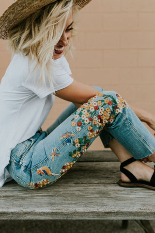 flower embroidery on jeans inspiration