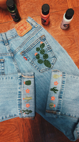 painted cactus on denim jeans inspiration
