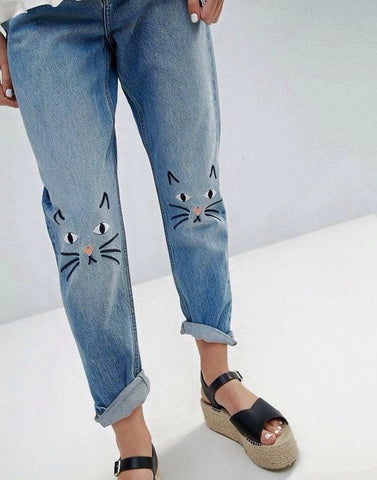 cat embroidery on jeans inspiration
