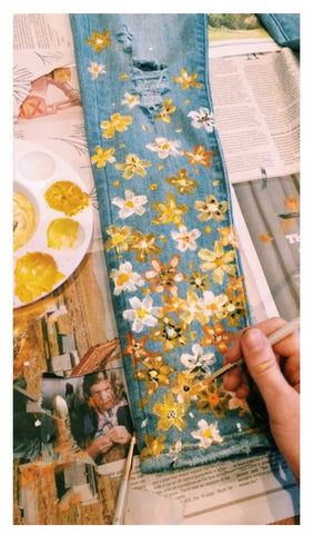 Painted flowers on jeans customised inspiration