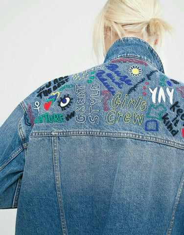 modern hand embroidery on denim jacket inspiration