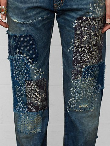 sashiko repair jeans inspiration