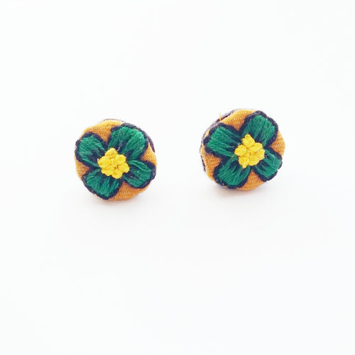 Embroidered Green Flower Earrings