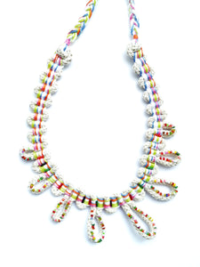 beaded hand woven bib necklace
