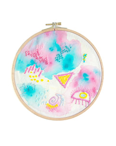 Abstract Painted & Embroidered Hoop Art