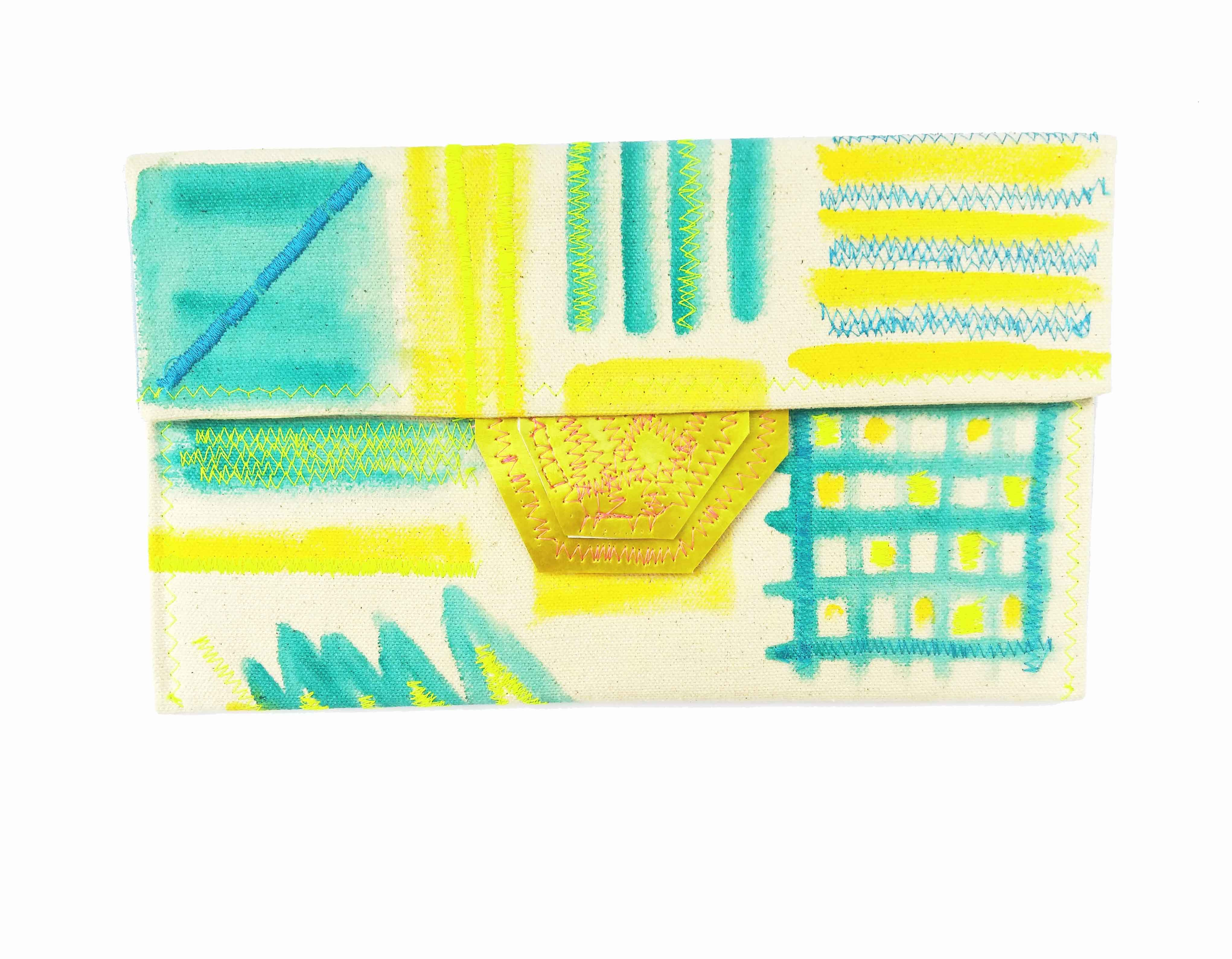 Happy Summer - Geo Turquoise Envelope Clutch