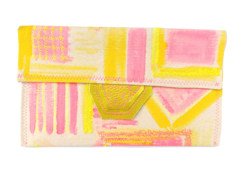 Happy Summer - Geo Pink Envelope Clutch