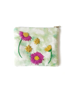 Flower Hand Embroidery Zip Purse kit