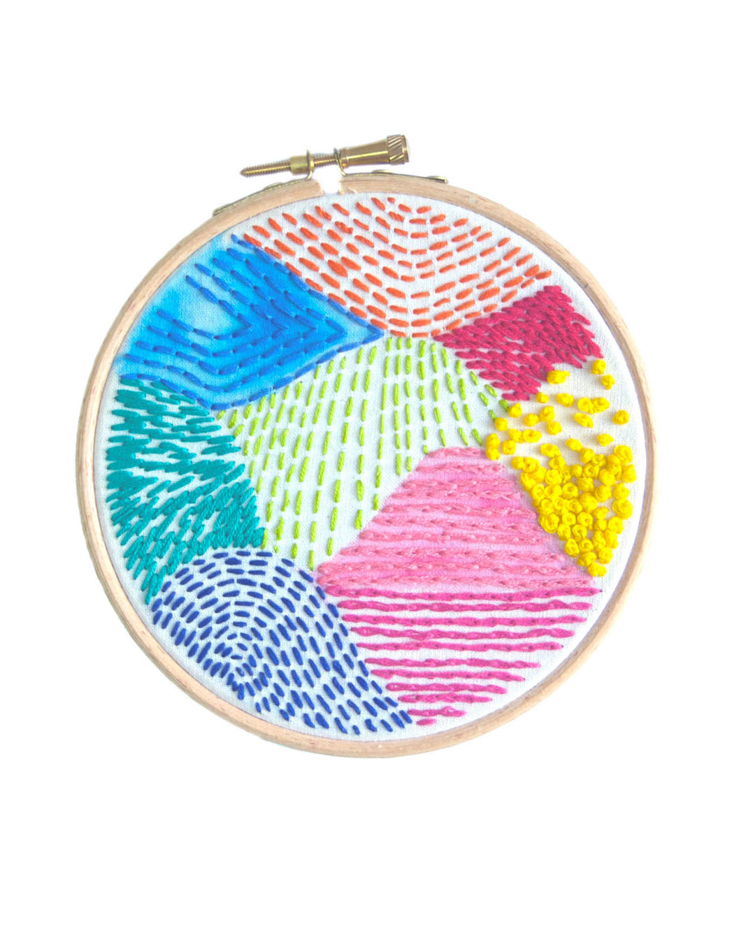 Abstract Mountain Painted & Embroidered Hoop Art