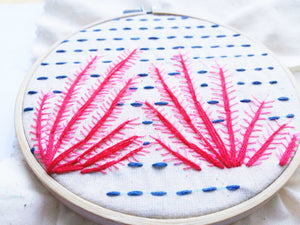 hand embroidery Red Coral Pattern for Beginners close up
