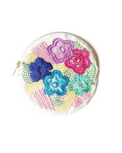 Spring Flowers Round Embroidered Zip Purse