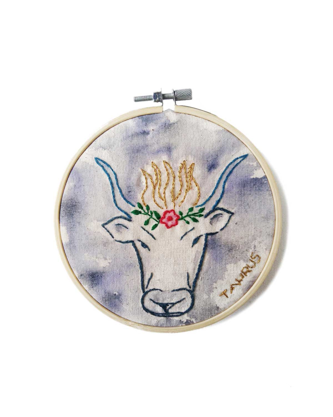 Taurus Zodiac Embroidery pattern design