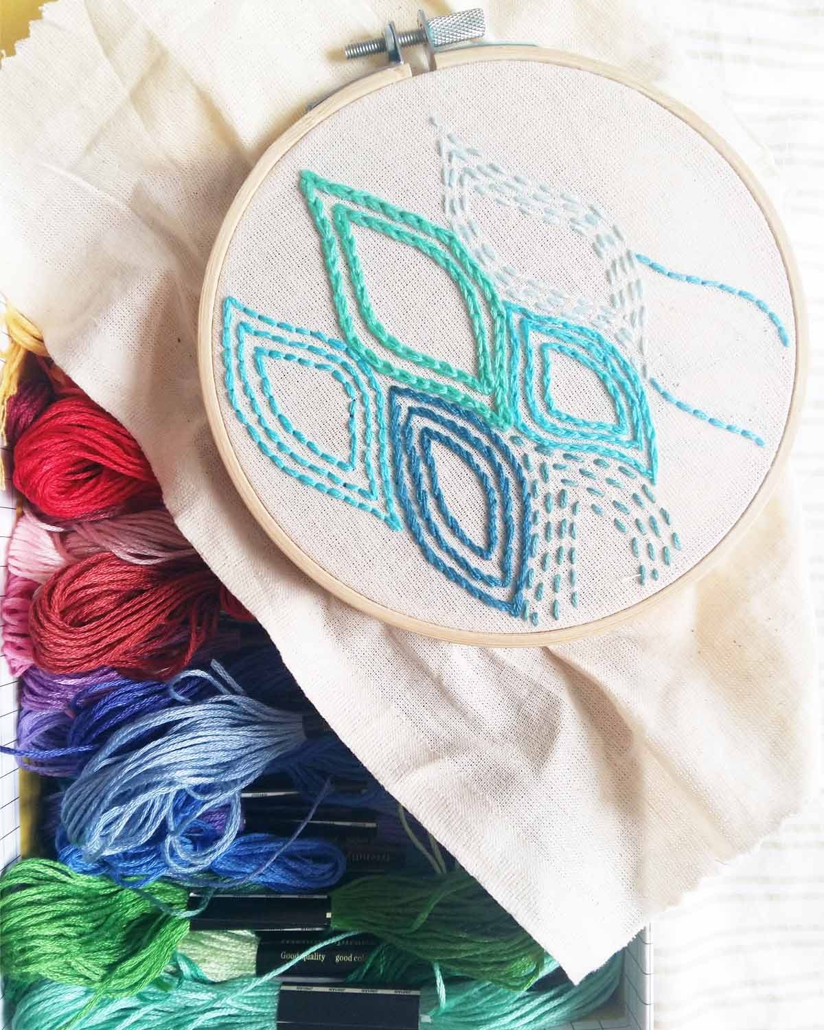 Modern Geometric Beginners Embroidery Sampler Kit top view
