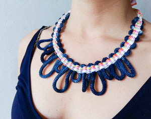 Woven Necklace Cipre indigo multicolour close up