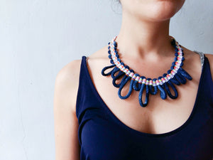 Woven Necklace Cipre indigo multicolour