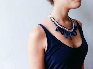 Woven Necklace Cipre indigo multicolour side