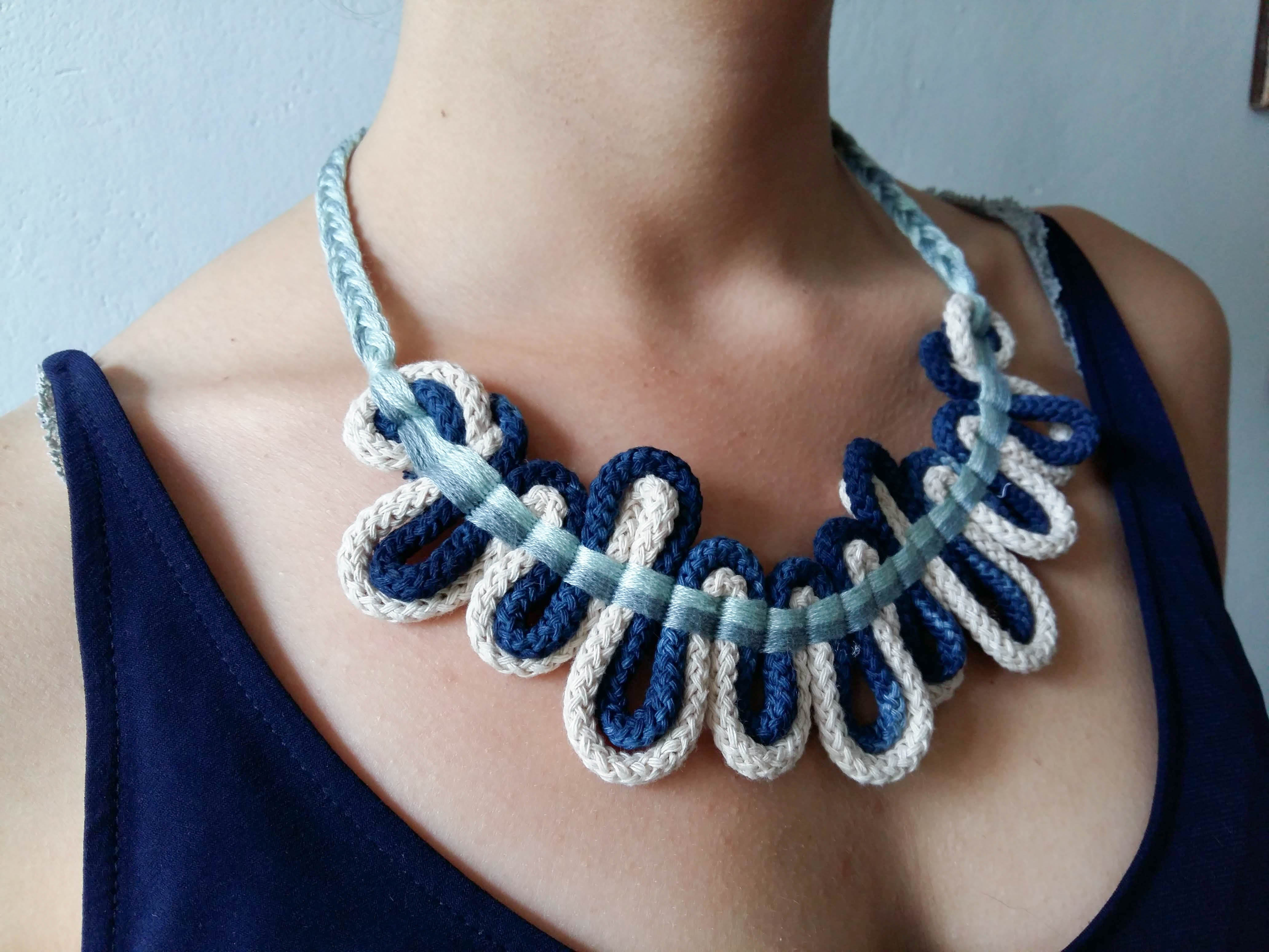 hand woven greek style cord necklace