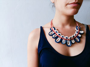 Hand woven bib greek cord necklace