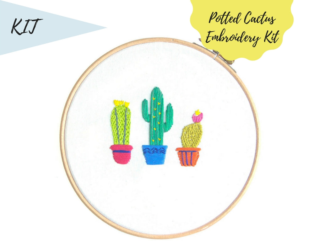 cactus modern embroidery kit