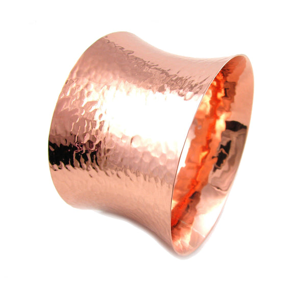 Large Solid Hammered Copper Bangle Cuff