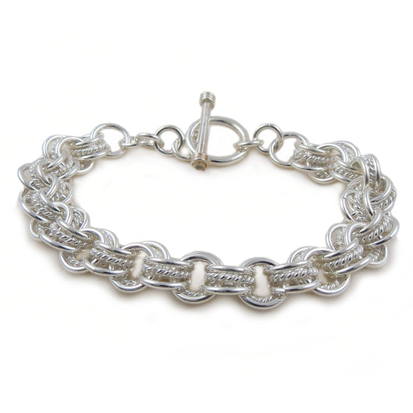 Chain Bracelet 925 Sterling Silver Triple Circle Link Design in a Gift Box
