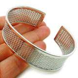 Wide Cuff Solid 925 Sterling Silver Bracelet in a Gift Box