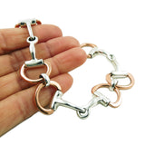 Horse Snaffle 925 Solid Sterling and Copper Horse Tack Bracelet