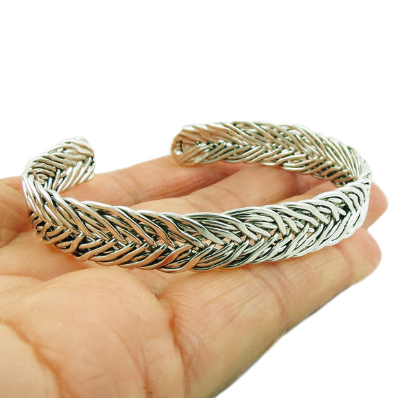 Bracelet 925 Sterling Silver Woven Cuff Gift Boxed