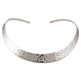 Large 925 Sterling Silver Hammered Choker Torc