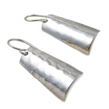 Hammered Curved Drop 925 Sterling Silver Earrings Gift Boxed