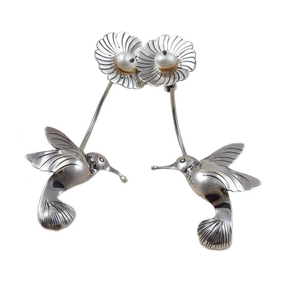 Large 925 Sterling Silver Hummingbird and Flower Drop Earrings Gift Boxed