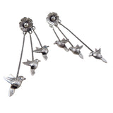 Long Lovebirds Dove 925 Sterling Taxco Silver Stick Drop Earrings
