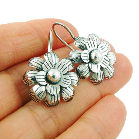 Flower 925 Antiqued and Polished Silver Earrings