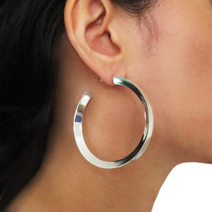 Large 925 Sterling Silver Wide Edge Hoop Earrings in a Gift Box