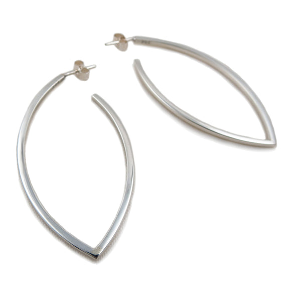 Long Sterling 925 Silver Hoop Earrings in a Gift Box
