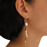 925 Taxco Silver and Copper Designer Long Drop Earrings