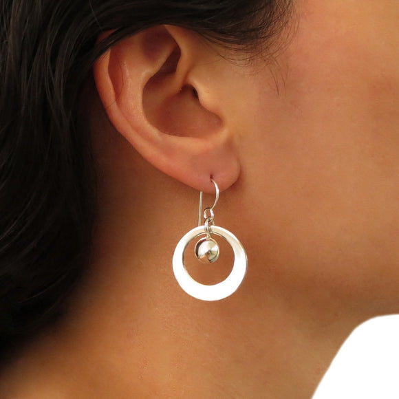 Sterling 925 Silver Hoops and Ball Bead Dome Earrings
