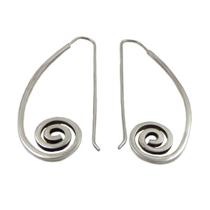 Solid Sterling 925 Silver Deco Spiral Threader Earrings