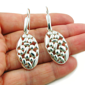 Long Polished 925 Sterling Silver Oval Drop Earrings in a Gift Box