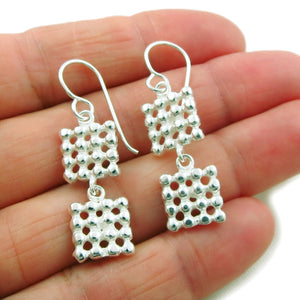 Square 925 Sterling Silver Drop Earrings in a Gift Box